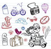 Journey, set of funky doodles Royalty Free Stock Photos