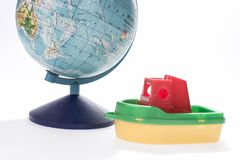 Journey on the ship. Ship and globe isolated. Stock Photo