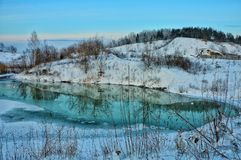 Journey through Siberia. Reflection. Rural landscapes Royalty Free Stock Photography