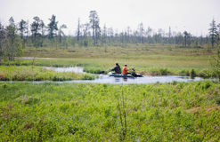 Journey through the Siberian river in the tundra Royalty Free Stock Photo