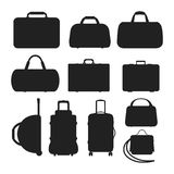 Journey suitcase travel bag silhouette vector. Travel tourism fashion baggage and vacation handle leather big packing briefcase. Voyage destination bag Royalty Free Stock Photo