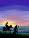 Journey to Bethlehem. Illustration of Mary and Joseph travelling to Bethlehem...or could also represent the Flight to Egypt. Matching images of Nativity, Kings Royalty Free Stock Images