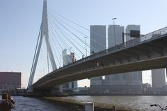 A journey to discover the modern and futuristic architectural city of Rotterdam, between bridges and skyscrapers.  stock photos