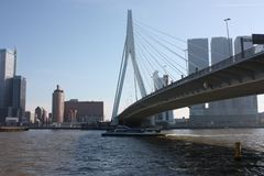 A journey to discover the modern and futuristic architectural city of Rotterdam, between bridges and skyscrapers.  royalty free stock photography