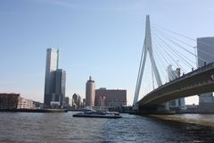 A journey to discover the modern and futuristic architectural city of Rotterdam, between bridges and skyscrapers.  royalty free stock photo