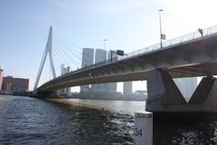 A journey to discover the modern and futuristic architectural city of Rotterdam, between bridges and skyscrapers.  stock image
