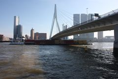 A journey to discover the modern and futuristic architectural city of Rotterdam, between bridges and skyscrapers.  stock photo
