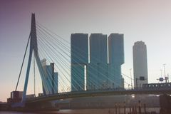 A journey to discover the modern and futuristic architectural city of Rotterdam, between bridges and skyscrapers.  stock images