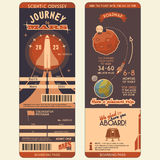 Journey to Mars boarding pass. For the first settlers on the Red Planet. Flat graphic design template, face and back side Royalty Free Stock Images