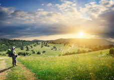Journey to the mountains searching of sun Stock Images