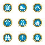 Journey to the mystery icons set, flat style. Journey to the mystery icons set. Flat set of 9 journey to the mystery vector icons for web isolated on white Stock Photo