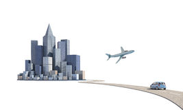Journey to a new and modern city. Isolated white Stock Photos