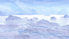 Journey to the pole - 3D render. Low aerial view of icebergs in pole landscape by sunny daylight royalty free illustration