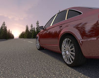 Journey to the red car. White Royalty Free Stock Photo