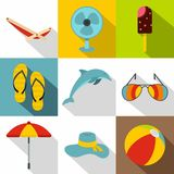 Journey to sea icons set, flat style Royalty Free Stock Images