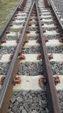 The rail line of steel rail. Royalty Free Stock Images