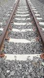 The rail line of steel rail. The journey of the train is a long and strong steel rail stock image