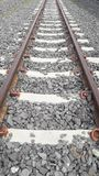The rail line of steel rail. Royalty Free Stock Photo