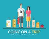 Journey vacation baggage in flat design background concept. Married couple with collects things going on a trip. Icons Stock Images