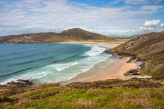 Beautiful landscape of Tranarossan Bay, Donegal, Ireland. Journey on the Wild Atlantic Way coastal route on Rosguill Peninsula Royalty Free Stock Photos