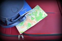journeyer Torba, światowa mapa i paszport, zdjęcia stock