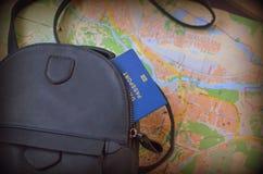 journeyer Torba, światowa mapa i paszport, fotografia royalty free