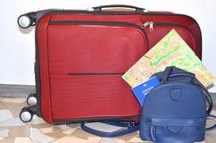 journeyer Torba, światowa mapa i paszport, zdjęcia royalty free