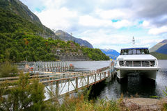 Journeys boat waiting for her passengers in Te Anau lake, New Zealand Royalty Free Stock Photography