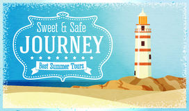 Journeys and tours advertisement with ocean beacon Royalty Free Stock Photos