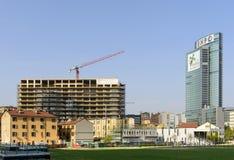 19 jours à l'EXPO 2015, au chantier et à la publicité d'EXPO, Milan Photo stock