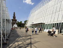 335 jours à l'EXPO 2015, chantier dans le largo Cairoli, Milan Photos libres de droits