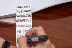 Jours de la semaine Images libres de droits