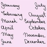Jours de noms tirés par la main du mois Image stock