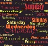Jours de semaine Photos stock