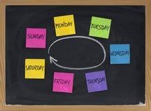 Jours de semaine pendant le tableau noir image libre de droits