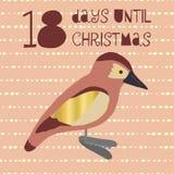 18 jours jusqu'à l'illustration de vecteur de Noël compte à rebours de Noël illustration de vecteur