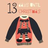13 jours jusqu'à l'illustration de vecteur de Noël Compte à rebours de Noël 13 jours Style scandinave de cru Chandail laid tiré p illustration stock