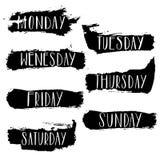 Jours manuscrits de la semaine lundi, mardi, mercredi, jeudi, vendredi, samedi, dimanche Calligraph marquant avec des lettres le  illustration libre de droits