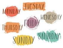 Jours manuscrits de la semaine lundi, mardi, mercredi, jeudi, vendredi, vecteur calligraphyLettering de typographie de samedi dim illustration libre de droits