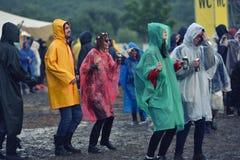 Jours pluvieux à un festival de musique Photos libres de droits