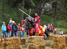 Joust near Bran Castle (Castle of Dracula). Romania Royalty Free Stock Images