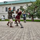 Joust on the territory of the monastery. Stock Image