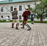 Joust on the territory of the monastery. Stock Images
