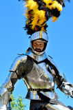Jouster. A professional knight jouster, riding on his horse, proclaiming victory with his arms outstretched. He is wearing his shining armor. This was taken at a Stock Photography
