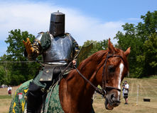 Jouster requesting his sword Stock Photography