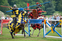 Jousters on Horseback. Illustration of Jousting Display.  Tourism in the UK/ profit-making activities in stately homes/ castles Royalty Free Stock Photography