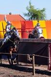 jousting ιππότες μεσαιωνικοί Στοκ Εικόνες