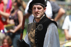 Jousting Announcer. Renaissance Actor from the Tampa Bays Renaissance Festival starts to annouce the beginning of the  jousting competetion Stock Images