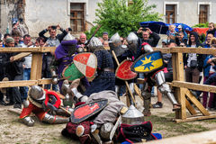 Jousting battles festival of medieval culture Outpost 2016 in Kamenetz-Podolsk Royalty Free Stock Photography
