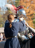 Jousting Champion Shane Adams. HARVEYSBURG OH,OCTOBER 9 2010- Jouster Shane Adams (Sir Shanton) suits up for a joust at the Ohio Renaissance Festival, October 9 Stock Photography